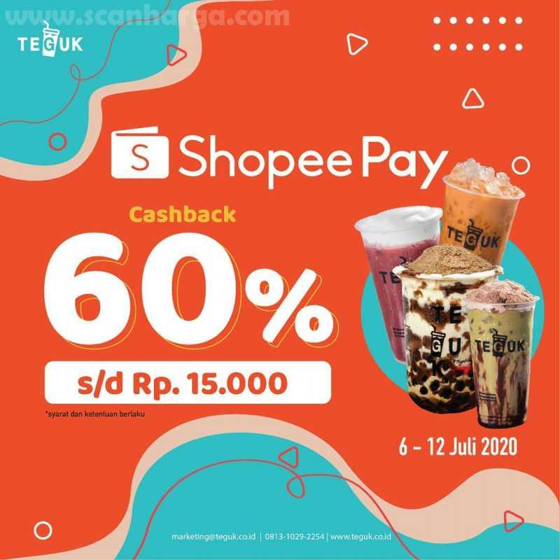 Promo Teguk ShopeePay Cashback 60% s/d Rp 15.000 Periode 6 - 12 Juli 2020