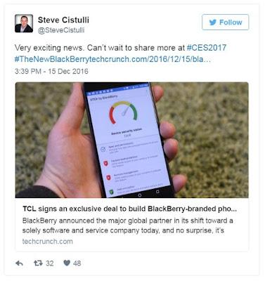 Sería un teléfono con el famoso teclado QWERTY. Luego de anunciarse que la compañía china TLC fabricaría teléfonos BlackBerry, el presidente de la empresa en Norteamérica confirmó que ofrecerá más información durante el CES 2017. Por medio de su cuenta de Twitter, Steve Cistulli dijo que «no puede esperar» para compartir más (información) en la feria de electrónica de consumo más importante. CES sería testigo de un tercer BlackBerry fabricado por TLC (los otros dos son los DTEK50 y DTEK60). De momento no se saben sus especificaciones, aunque se rumorea que veremos otro teléfono con el famoso teclado QWERTY. El