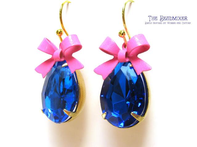 Retro oorbellen met saffier blauwe rhinestones