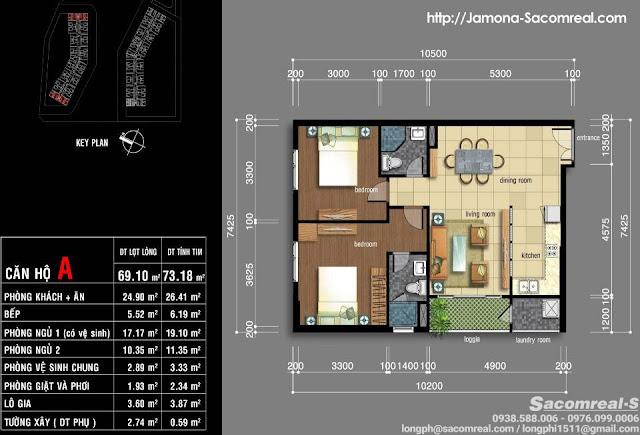 Thiết kế căn hộ góc 2 phòng ngủ 69m2 Jamona Apartment