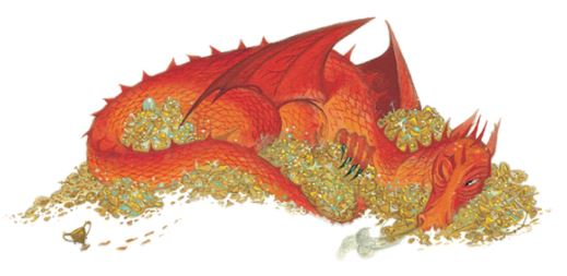 Smaug, a red dragon, curled on a pile of golden treasure