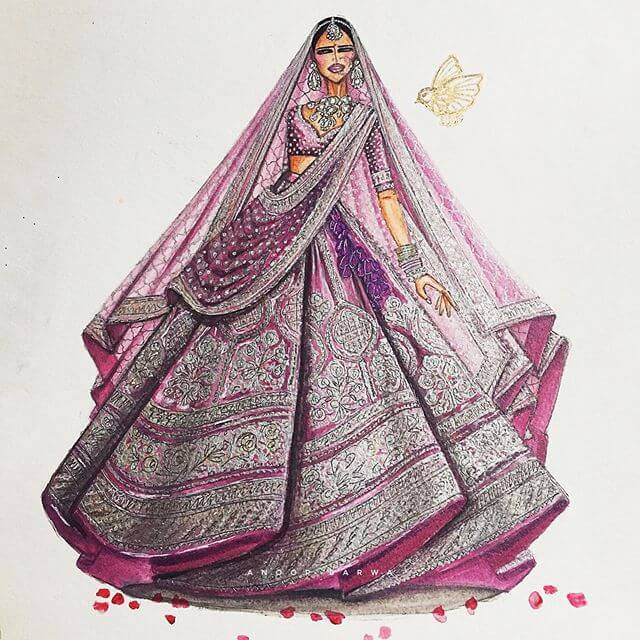 14-Indian-Dress-Drawings-Anoopbarwa-www-designstack-co