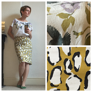Boden skirt and H&M top print mix and match