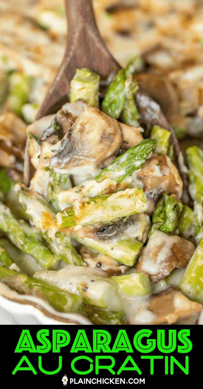 scooping cheese asparagus and mushrooms from baking dish