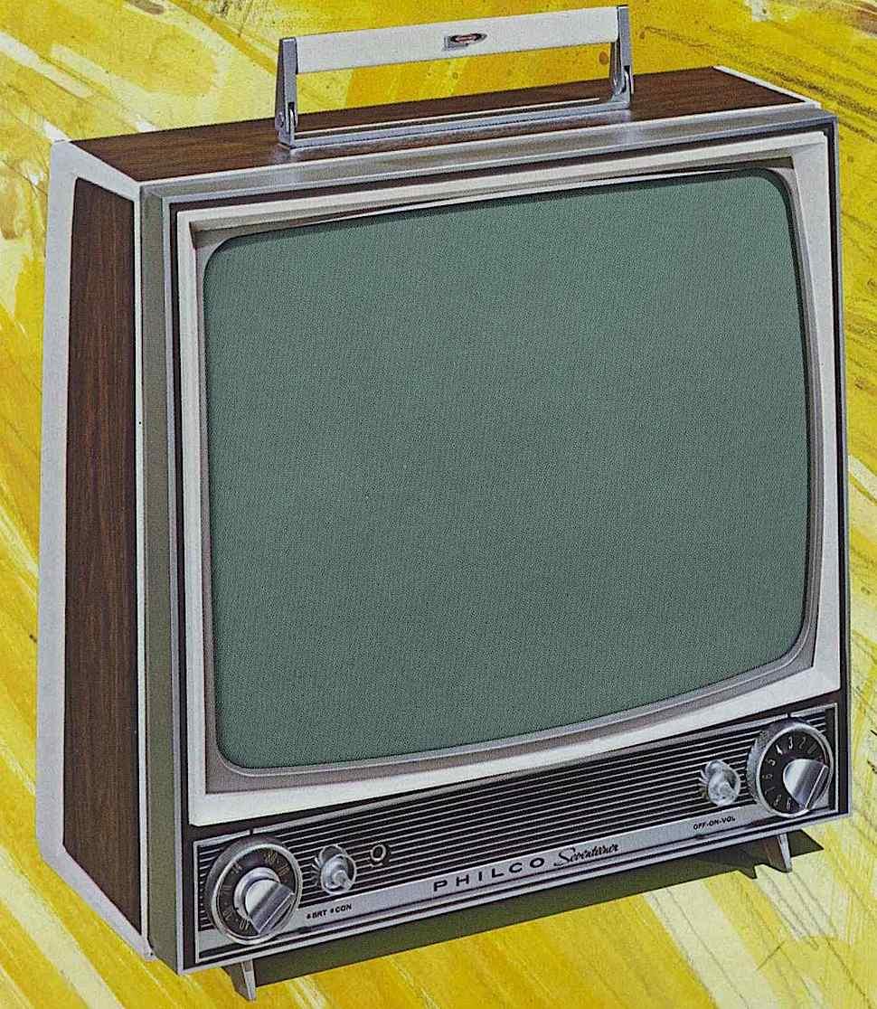 a 1958 Philco portable tv color illustration