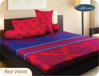 Sprei california motif red velvet