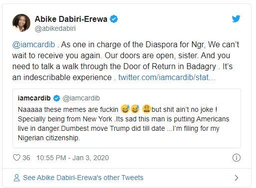 We can't wait to receive you again, ur doors are open – Abike Dabiri tells Cardi B