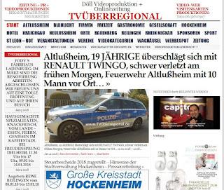 Altlußheim, 19 JÄHRIGE überschlägt sich mit RENAULT TWINGO, schwer verletzt am frühen Morgen, Feuerwehr Altlußheim mit 10 Mann vor Ort…