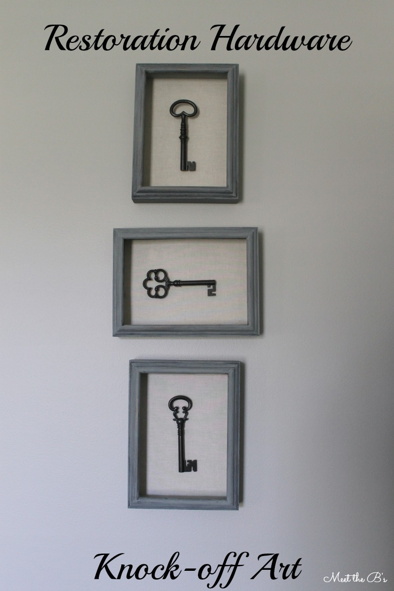 Easy DIY Restoration Hardware inspired skeleton key shadow boxes. Get the look for less with this knock off idea!
