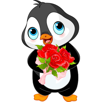 Penguin sticker with roses