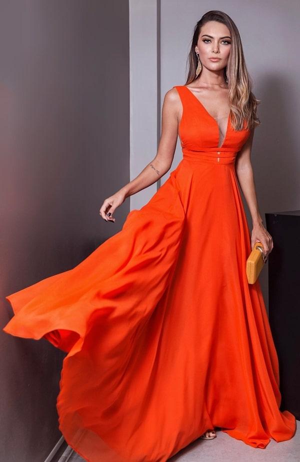 vestido de festa longo laranja para casamento