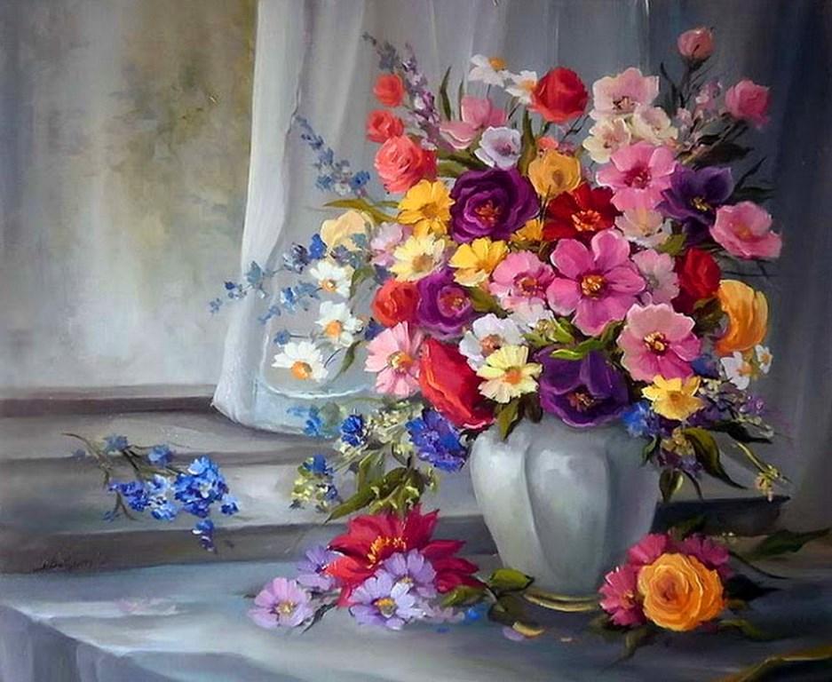 Jarrones Con Flores Para Pintar Al Oleo Flores De Papel