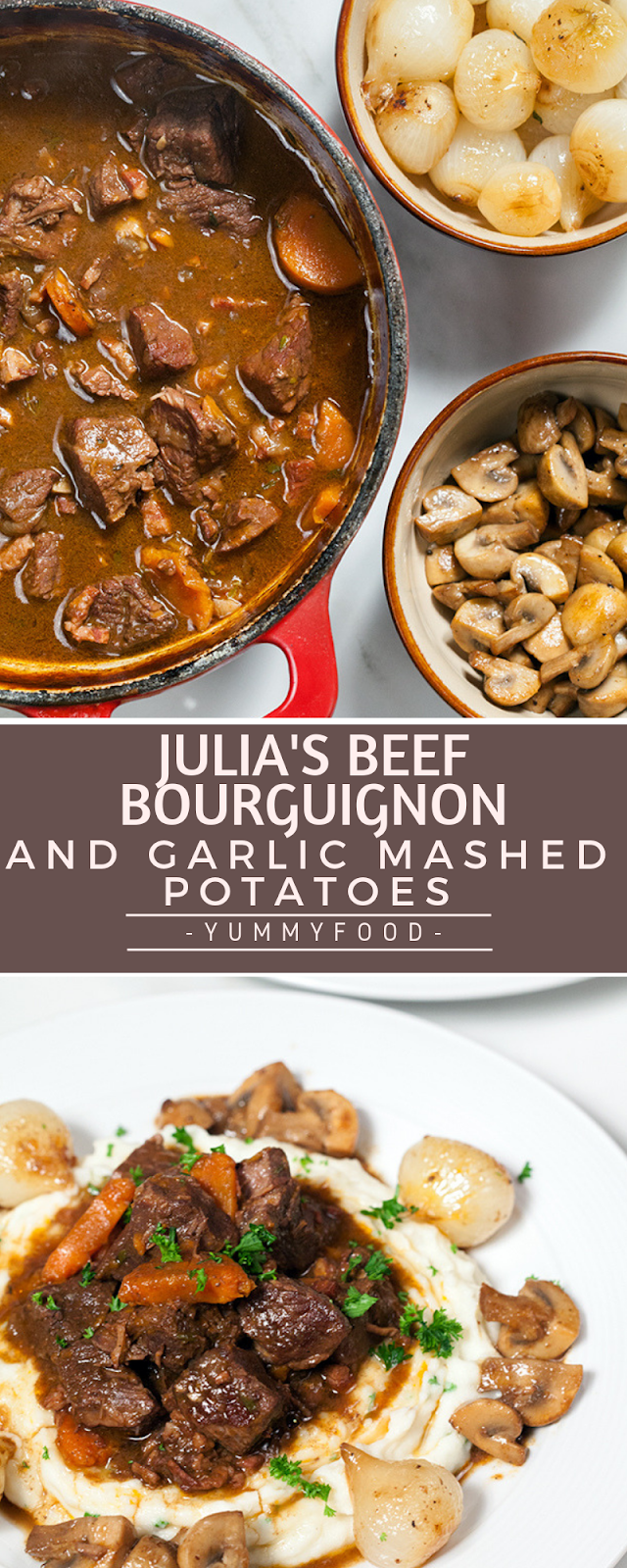 Julia's Meat Bourguignon and Garlic Mashed Potatoes