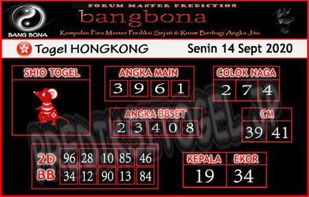 Prediksi Bangbona HK Senin 14 September 2020