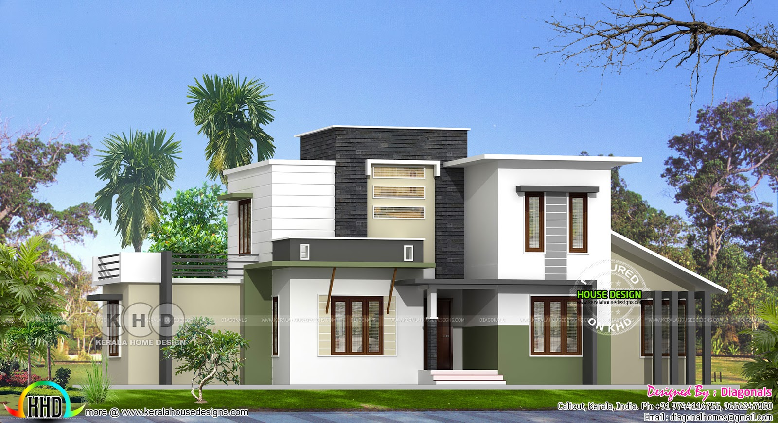 Modern flat roof 4 bedroom house architecture kerala for 3000 sq ft house plans kerala
