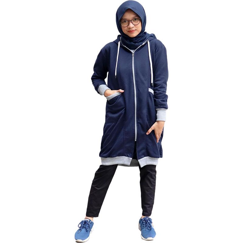 Jaket Muslimah Hijaber Lengan Panjang Lucu - Biru Navy