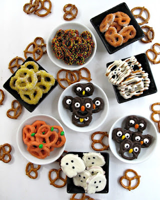 variety of halloween decorated chocolate dipped pretzels