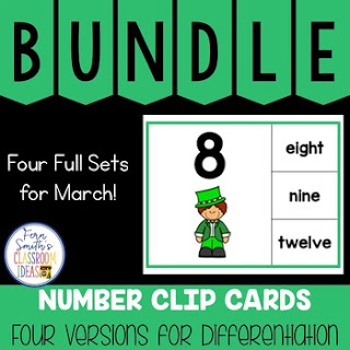 Number Clip Card Centers for Numbers, Number Words & Ten Frames March Bundle