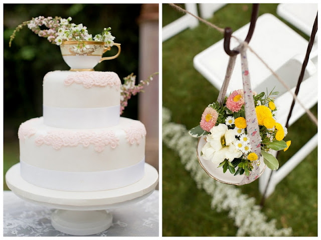 tea cup wedding floral containers and cake topper via Oh Lovely Day