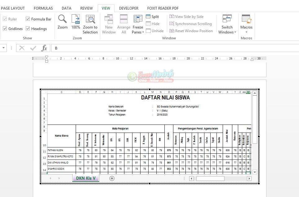 Tampilan spreadsheet excel yang berisi data di dokumen word