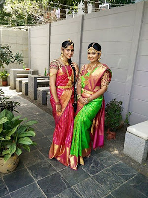 Traditional Southern Indian Bridal Dress With Jewellery And Hairstyle.