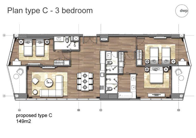 Thiết kế căn hộ loại C Condotel 15 tầng FLC Grand Hotel Sầm Sơn