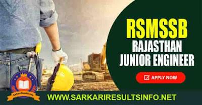 RSMSSB Rajasthan Junior Engineer JE Apply Online
