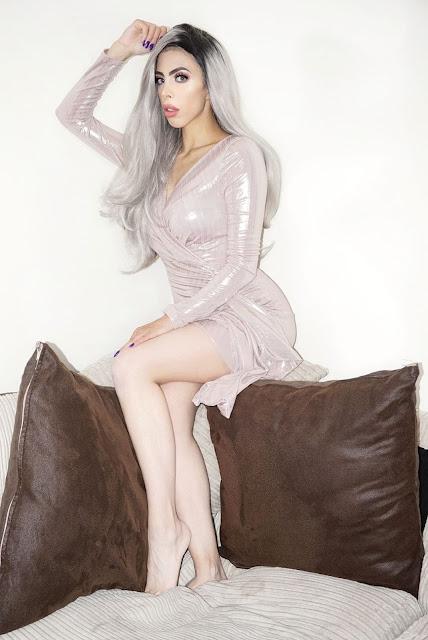 Fashion blogger Savana Rae wearing the Femme Luxe Stone Metallic Bodycon Side Detail Mini Dress in model Meela.