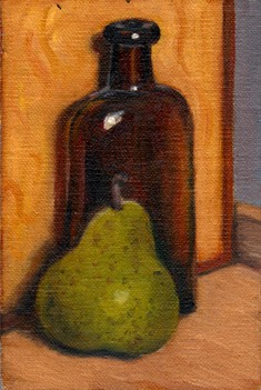Oil painting of a green pear in front of an antique brown glass medicine bottle.