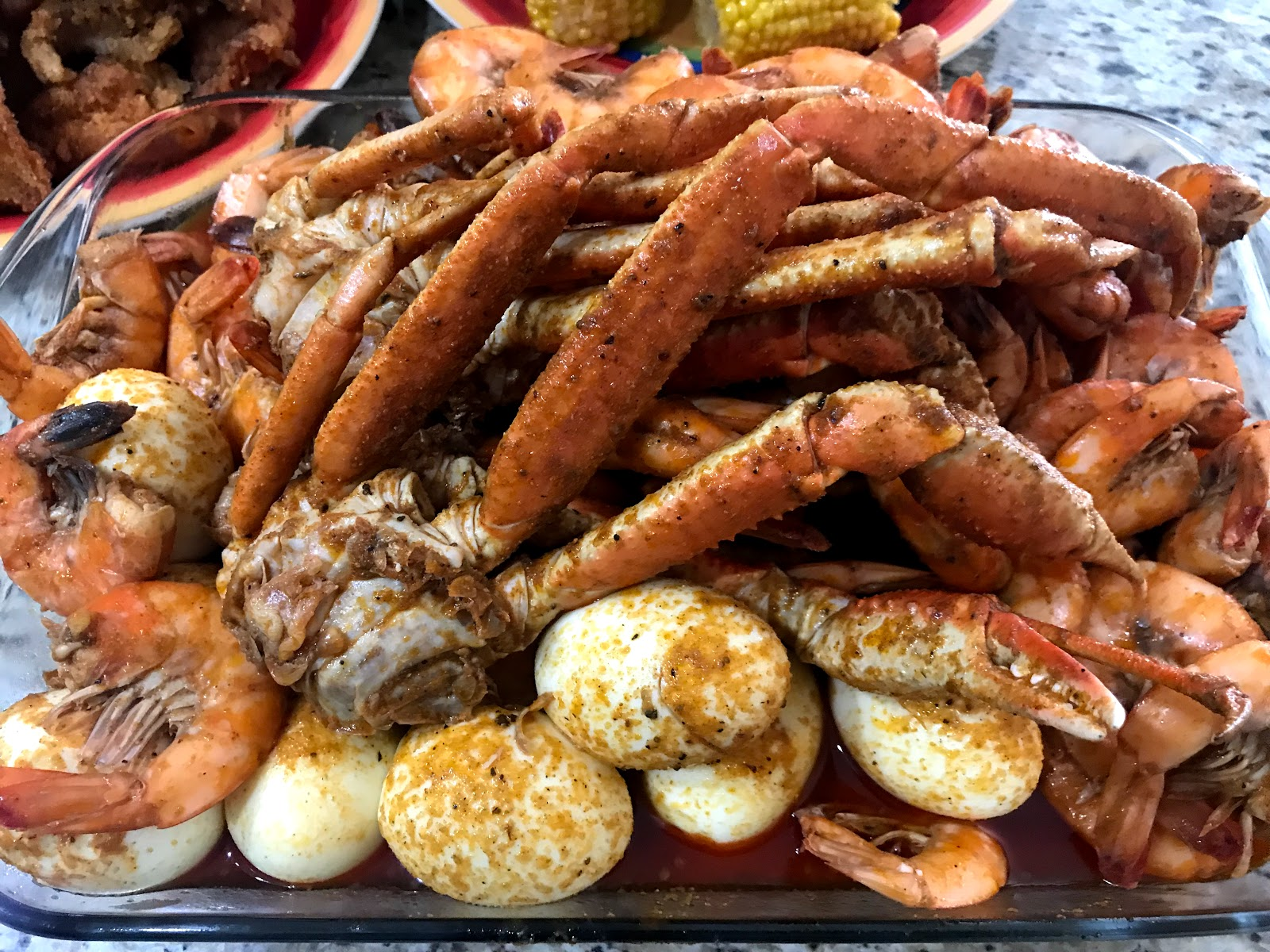 Image: Seafood boil shared by Tangie bell on her blog bits and babbles 5 Things I Learned Last Week While Eating Boiled Eggs, Shrimp, Snow Crabs & Fried Cat Fish