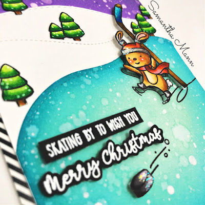 Skating By Card by Samantha Mann, Get Cracking on Christmas Cards, Avery Elle, Lawn Fawn, Distress Inks, Ink Blending, Cards, #getcrackingonchristmas #averyelle #cards #christmascard #distressink #inkblending