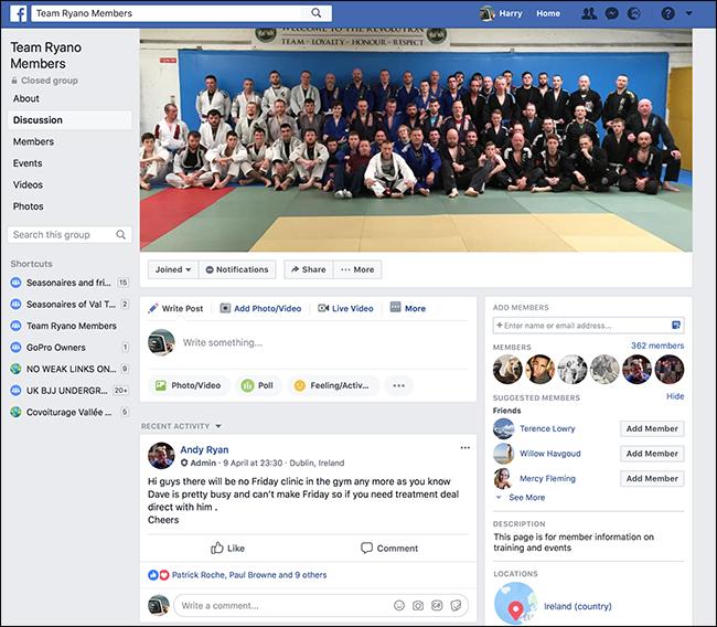 Gestione di squadre e club facebook