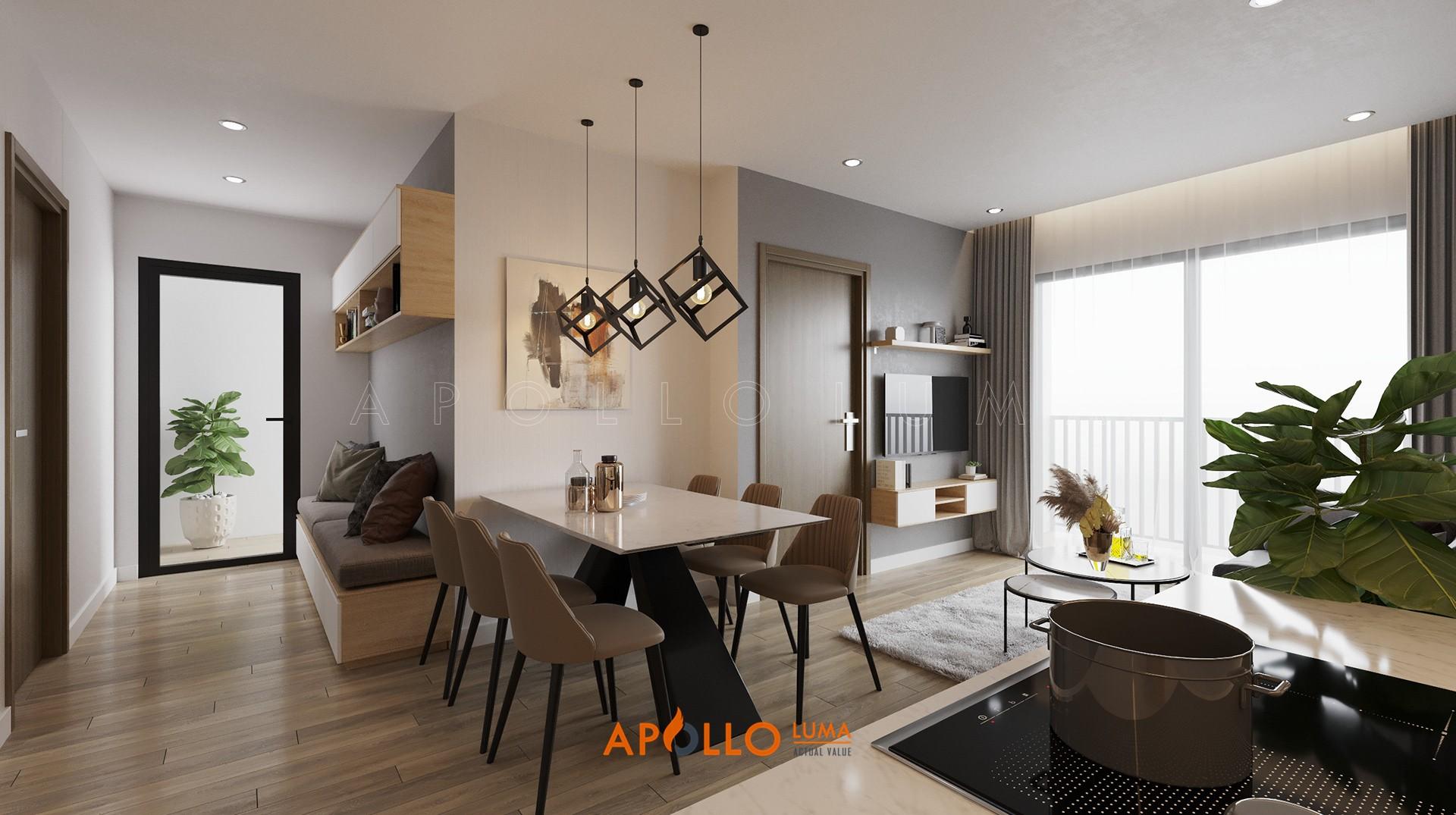 Thiết kế nội thất căn 2PN+1 (63m2) S4.02-08 Vinhomes Smart City Tây Mỗ