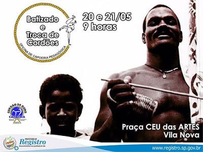 BATIZADO E TROCA DE CORDÕES DOS ALUNOS DA OFICINA DE CAPOEIRA DA SECRETARIA MUNICIPAL DE CULTURA DE REGISTRO-SP