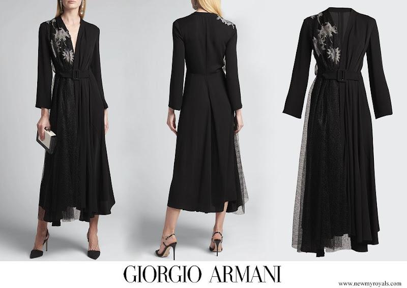 Meghan Markle wore Giorgio Armani Belted Floral Print Silk Midi Dress