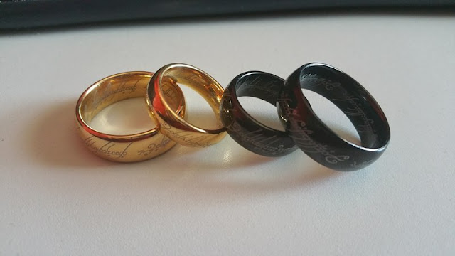 "Yes, these are the wedding rings. We'll turn out the lights in the church, because ""in the darkness bind them!"""