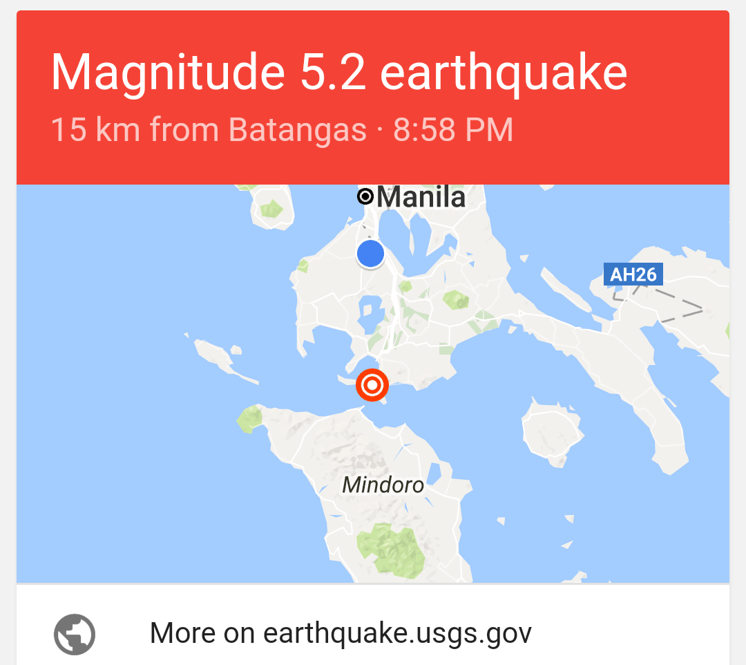 Batangas, Philippine earthquake April 4, 2017