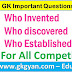GK Questions - Who Discovered and Invented