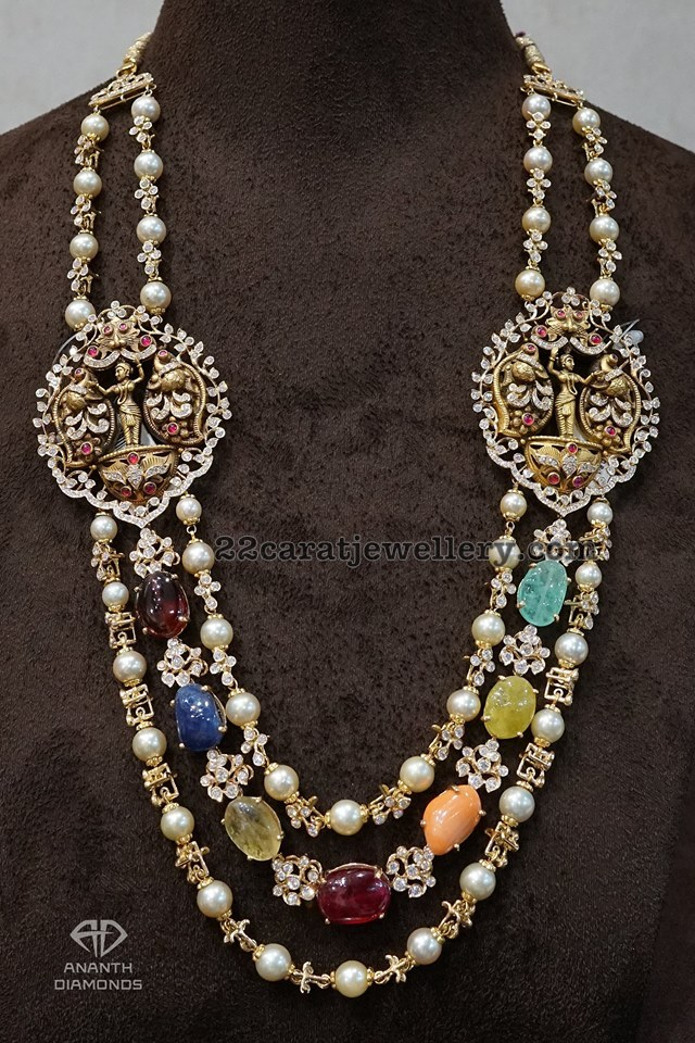 Navaratan Beads Haram with Daimond Lockets