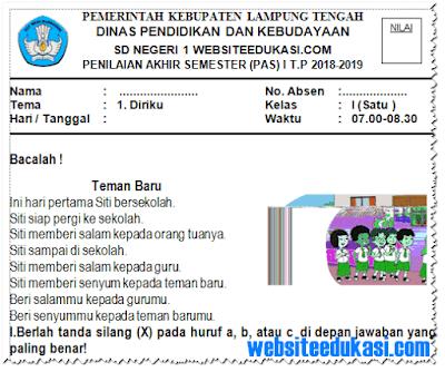 Soal PAS/ UAS Kelas 1 SD/MI K13 Tahun 2018/2019