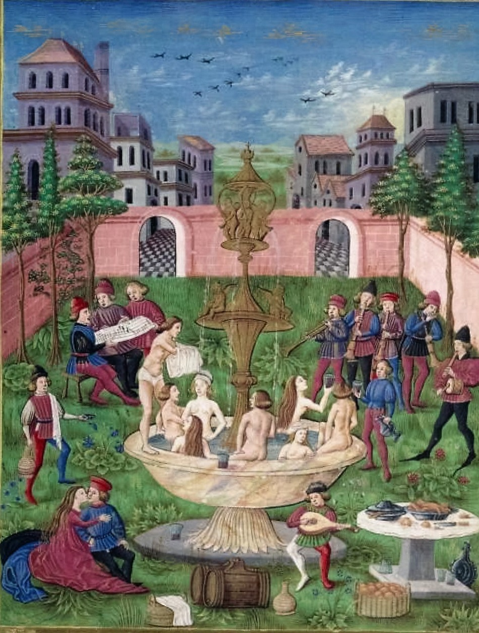 The Garden Of Love Or The Fountain Of Life. Singers U0026 Musicians In A Garden  Miniature From De Sphaera By Leonardo Dati 1470 Italy