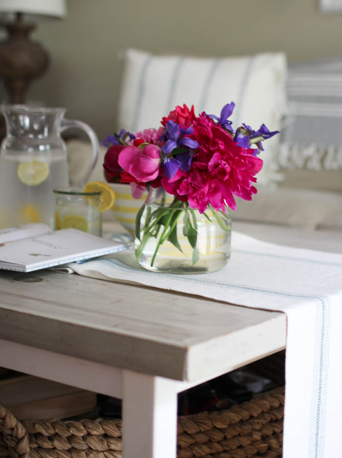 Peonies in summer home tour