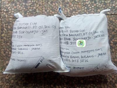 Benih padi yang dibeli   EUIS SUTARSIH Sukoharjo, Jateng.  (Setelah packing karung).