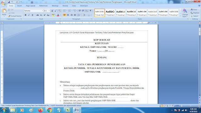 Contoh Format Surat Keputusan Tentang Tata Cara Pemberian Penghargaan Terbaru