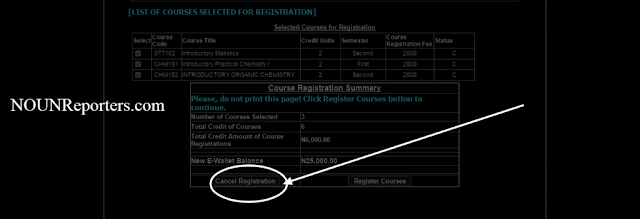 How To cancel course registration , if you want