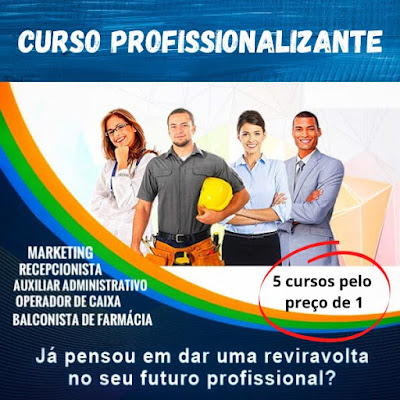 5 Cursos Online Profissionalizantes em 1 - Administrativo - Recepcionista - Caixa - Balconista Farmácia - Marketing