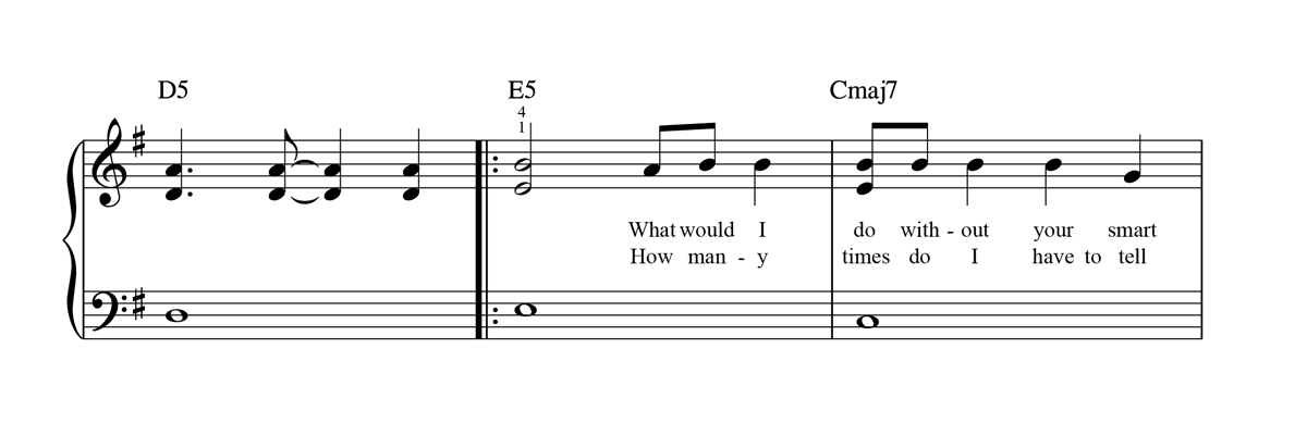 Very Easy Piano Sheet Music Notation Sample