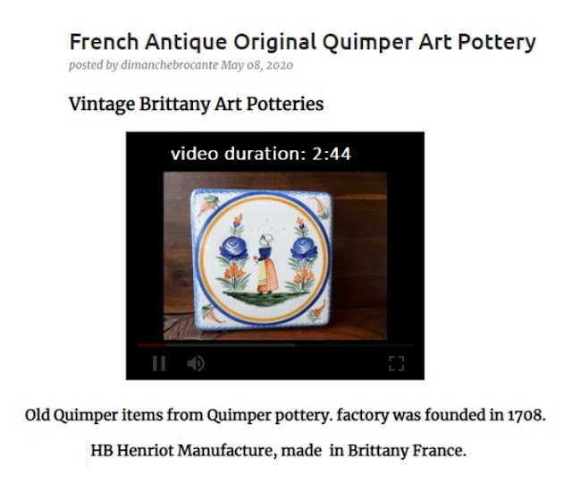 Antique Quimper Pottery video clip, signed HB Henriot Quimper, late 1800s, early 20th century, mid-century original items manufactured in Brittany France.