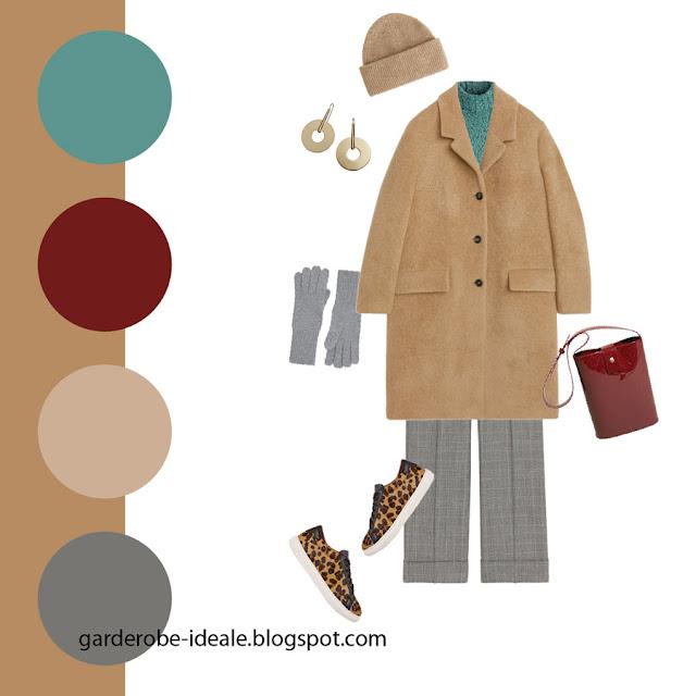 Сочетание пальто цвета кэмел и бирюзовой водолазки и леопардовой обуви