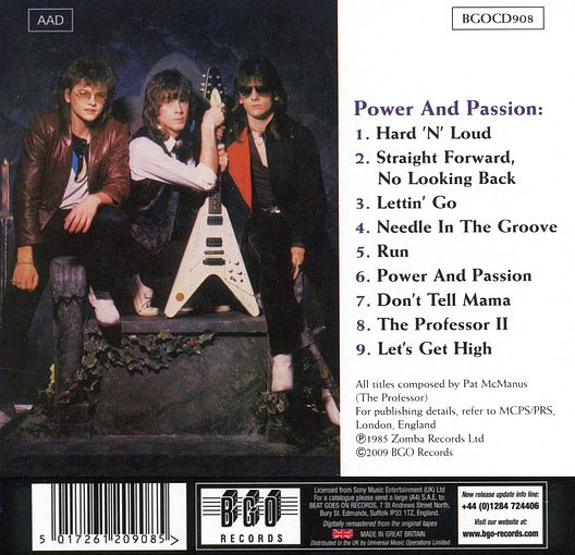 MAMA'S BOYS - Power And Passion [BGO digitally remastered] back
